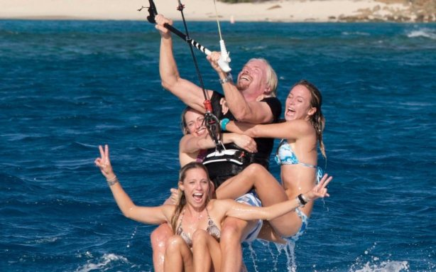 richard-branson-kite-surfing-3-girls